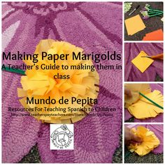 Step by step instructions for making paper marigolds from a teacher's perspective, with word for word instructions. Mundo de Pepita, Resources for Teaching Spanish to Children