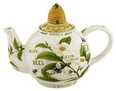 Tea Leaves and Bees (word) Collectible Teapot with Beehive and Honeycomb Lid | avail on 'rosesandteacups'♥≻★≺♥