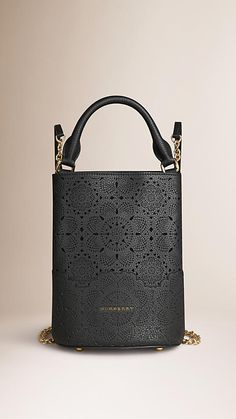 Black The Bucket Backpack in Laser-cut Lace Leather - Image 1