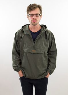 Green mens jacket khaki vintage parka windbreaker by NylonRoad
