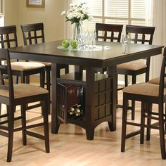 Mix   Match Counter Height Dining Table with Storage Pedestal Base by  CoasterCozy Tall Kitchen Table for Large Kitchen Design  Black Elegant  . Kincaid Stonewater Tall Dining Table. Home Design Ideas