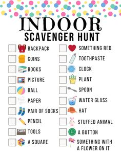 Your kids are going to love this indoor scavenger hunt. It's such a fun way to keep them active and moving right inside the house. Indoor Activities For Kids, Learning Activities, Preschool Activities, Games For Kids, Diy For Kids, Kids Learning, Crafts For Kids, Summer Activities, Fun Worksheets For Kids