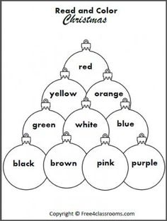 SAVED Free Read and Color the Christmas Ornaments. Students practice reading color words with this fun worksheet. Letter Writing Worksheets, Fun Worksheets, Kindergarten Worksheets, Preschool Christmas, Kids Christmas, Christmas Crafts, Christmas Ornaments, Xmas, Toddler Preschool