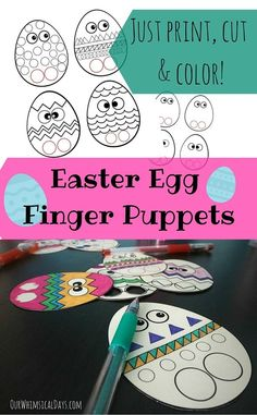 Easter egg finger puppets - just print and decorate! Great fine motor activity!