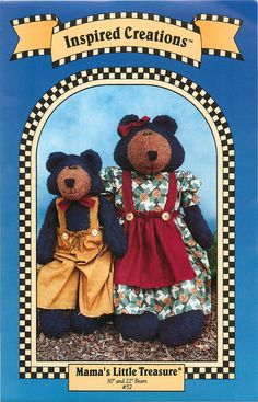 Mama's LIttle Treasure, a Sewing Pattern for Homespun or Primitive Bears with Clothes by Inspired Creations by CarlasHope on Etsy