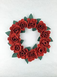 Egg Carton Roses Tutorial - make a wreath or candle ring with egg carton roses   www.donnaberlanda.com   Completed egg carton rose wreath