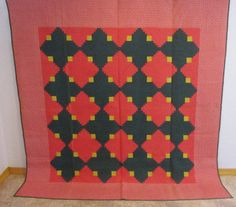 OUTSTANDING DESIGN 1890s Log Cabin Quilt Pennsylvania CRISP 92 x 90 VERY BIG
