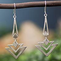 Sterling silver dangle earrings, 'Art Deco' (Mexico) - Price $49.99 | shop NOVICA dangle