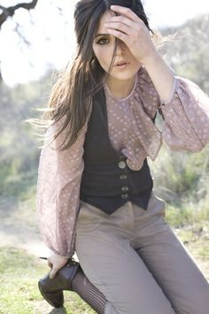 Soft & neutral tones with black vest-use with cream knotted sheer blouse