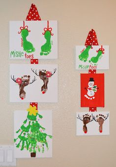 Kids Christmas Prints - The Keeper of th. - Kids Christmas Prints - The Keeper of th. Christmas Handprint Crafts, Christmas Crafts For Kids To Make, Easter Crafts, Holiday Crafts, Christmas Canvas, Christmas Paintings, Kids Christmas, Vintage Christmas, Footprint Crafts