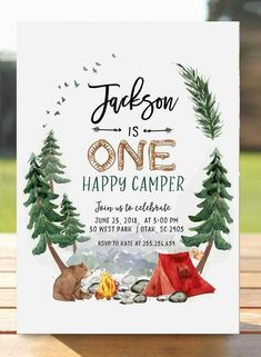 Camp Out Sleepover Birthday Invitation Camping Kids Invite Rustic Smores Great Outdoors LumberJack Campfire digital printable card First Birthday Camping Theme, Birthday Themes For Boys, Printable Birthday Invitations, Boy First Birthday, Boy Birthday Parties, Card Birthday, Birthday Ideas, Camping Birthday Invitations, Birthday Banners