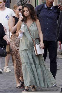 Selena Gomez Latest, Selena Gomez Daily, Selena Gomez Outfits, Selena Gomez Pictures, Selena Gomez Style, Adidas Slides, American Apparel, Flowy Summer Dresses, Dress Summer
