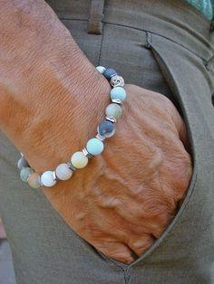 Unisex Spiritual Healing, Protection, Abundance, Success Bracelet with Semi Precious Matte Amazonites, Silver Hematites and Bali Beads by tocijewelry on Etsy