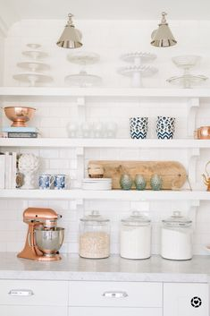 Here is a peek at my kitchen open shelving. Enjoy!