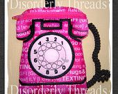 """Old Time Phone Zippered Bag! 6x8""""  **xxx vip  pes jef hus exp dst Formats** ITH In The Hoop Zippered Bag Machine Embroidery File"""