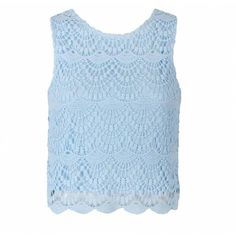 Ally Fashion Crochet lace front cropped top (238070 BYR) ❤ liked on Polyvore featuring tops, crochet lace top, crochet lace crop top, blue top, blue crop top and crop top