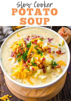 Slow Cooker Potato Soup is easy to make, creamy, thick and packing all the delicious flavors of a fully loaded baked potato! Slow Cooker Potato Soup is easy to make, creamy, thick and packing all the delicious flavors of a fully loaded baked potato! Slow Cooker Potato Soup, Crock Pot Potatoes, Crock Pot Slow Cooker, Crock Pot Cooking, Slow Cooker Recipes, Crockpot Baked Potato Soup, Loaded Baked Potato Soup, Easy Crockpot Potato Soup, Crock Pot