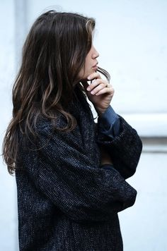 90fafcf8651ff Street Style: Marine Vacth | Long Coat + Jeans In Paris Tommy Ton, Trendy