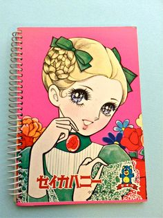 Vintage Japan Blonde Retro Girl Anime Mini Notebook by ggsdolls, $9.00