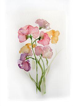 Spring Flowers. Watercolor original.Flowers painting. Art original. Pastel flowers. $25.00, via Etsy.