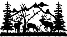 Deer Scene Silhouette Clip Art - Printable Invitation Design