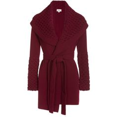 Temperley London Honeycomb Knit Jacket ($1,036) ❤ liked on Polyvore featuring outerwear, jackets, coats, cardigans, sweaters, red, wrap jacket, honey comb, purple jacket and red jacket