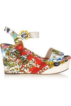 Dolce & Gabbana Printed brocade wedge sandals | NET-A-PORTER