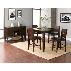 Alpine Furniture Lakeport 5 Piece Counter Height Dining Set with Optional Server - ALPE208
