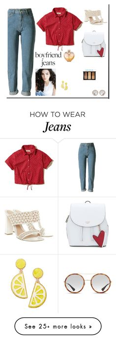 """BOYFRIEND JEANS"" by sofiy112 on Polyvore featuring Hollister Co., Alexander McQueen, Gucci, Celebrate Shop, Bobbi Brown Cosmetics and Vera Wang"
