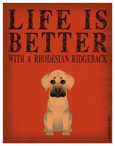 Life is Better with a Rhodesian Ridgeback Art by DogsIncorporated