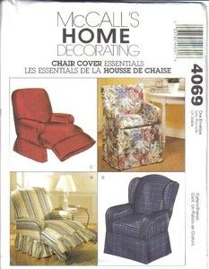 McCallu0027s Sewing Pattern 4069 Chair Slip Cover Wingback Recliner Home Slipcover  sc 1 st  Pinterest & Simplicity Pattern 5383-Slipcovers-One Size : Home Decor Patterns ... islam-shia.org