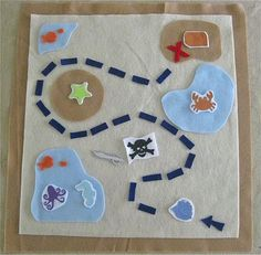 felt treasure map: totally up both kids alley! Will make realistic so they find the treasure in the end outside! Love it!