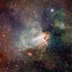 Also known as the Omega Nebula or the Swan Nebula, as it has never been seen before. This vast region of gas, dust and hot young stars lies in the heart of the Milky Way in the constellation of Sagittarius (The Archer). The VST field of view is so large that the entire nebula, including its fainter outer parts, is captured — and retains its superb sharpness across the entire image.