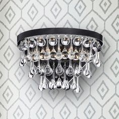Natalia 2-light Antique Black Crystal Wall Sconce