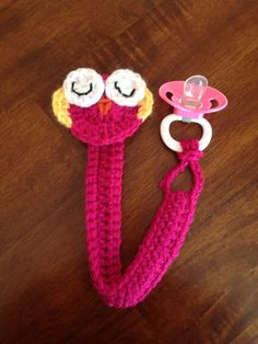 Crochet Owl Pacifier Clip on Etsy, $12.00