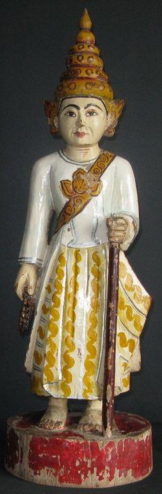 19th Century Burmese Wood Nat Spirit. Nat spirit worship is a pre Buddhist animist belief which still exists in Myanmar today.
