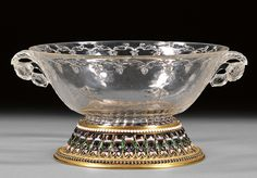 Carved Rock Crystal Bowl, mughal, 17th c.London jeweler Robert Phillips added a delicate gold, enamel and stone mounted foot-rim.