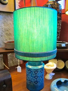 Bitossi Rimini blue pottery table lamp with original shade.