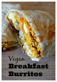 vegan breakfast burritos that can be enjoyed for breakfast, lunch or dinner. Enjoy them right away or roll them in foil for an on-the-go meal. Vegetarian Breakfast, Vegan Breakfast Recipes, Vegetarian Recipes, Vegan Foods, Vegan Dishes, Vegan Meals, Whole Food Recipes, Cooking Recipes, Freezer Recipes