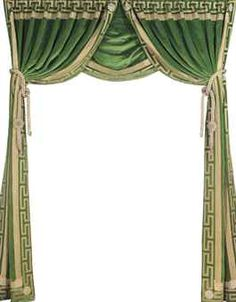 A PAIR OF GILT-EDGED GREEN VELVET CURTAINS TOGETHER WITH A SINGLE CURTAIN