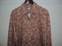 Joseph Abboud Mens Brown Paisley 100% Cotton Shirt SZ Large Mint Fast Shipping #JosephAbboud #ButtonFront
