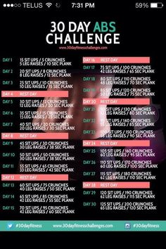 30 Day Abs Challenge Fitness Workout - 30 Day Fitness Challenges/ NOT for me. I don't need a 30 day Fitness Workout when I work out daily. Reto Fitness, Fitness Herausforderungen, Sport Fitness, Fitness Workouts, Fitness Motivation, Health Fitness, Fitness Weightloss, Fitness Quotes, Fitness Friday
