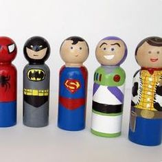 wooden super hero dolls. it would be great if you could also include some larry boy dolls from veggietales.  this would make a great present and would fit the birthday theme perfectly.