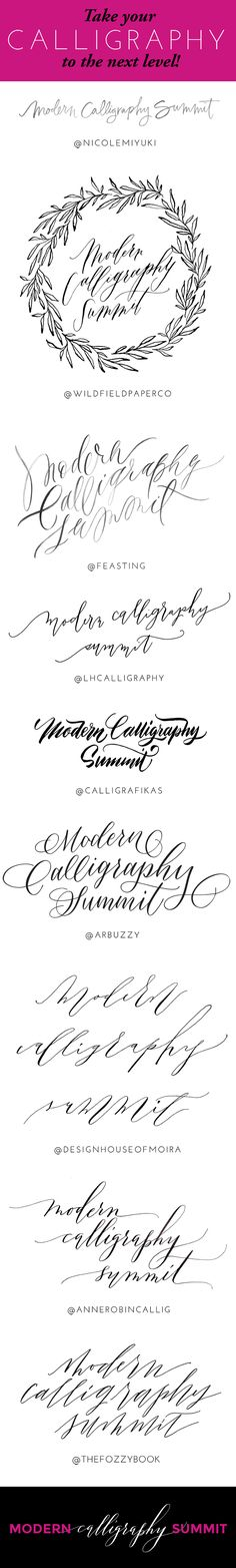 Learn modern calligraphy, learn brush lettering, learn calligraphy, hand lettering online through video lessons with your favorite artists. Modern Calligraphy Summit