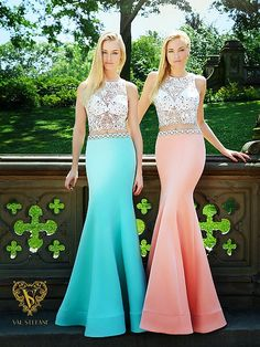 7277f622e1e Val Stefani Prom 3036RE daring sheer illusion crop top with jersey satin  trumpet skirt Prom Dress