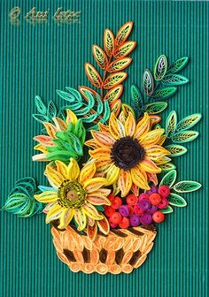 quilled sunflowers in basket