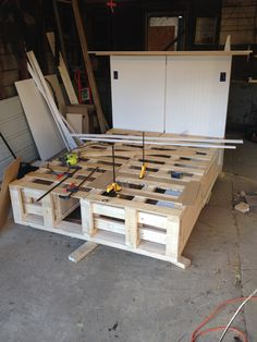 Make a Queen Size bed platform! Complete with toe kicks, drawers, headboard, LED lights and lamps.