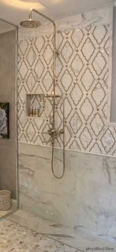 Simplified Bee - bathrooms - shower niche, moroccan tile, moroccan tile shower, moroccan tile shower surround