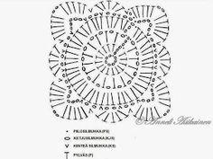 Supersuosittu virkkausmalli Willow  'Paju' Käsin luotua (Jan Eaton, 200 crochet blocks for blankets, throws... Virkattu kukka ohje virkkaus viltti peitto pajuneliö