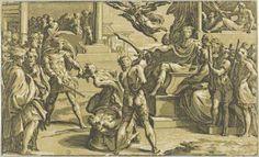 Antonio da Trento (attivo a Bologna intorno al 1527), da Parmigianino - Martirio di Paolo e condanna di Pietro